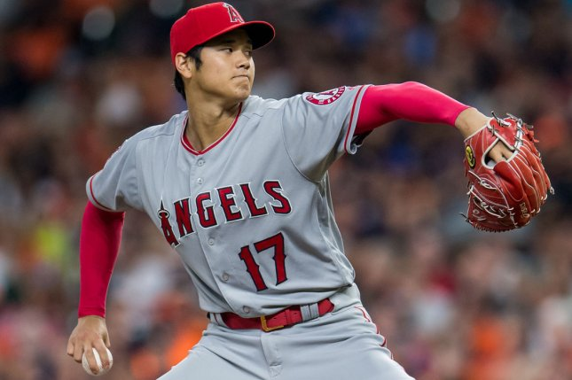 Shohei Ohtani and the Los Angeles Angels face the Texas Rangers on Tuesday. Photo by Trask Smith/UPI