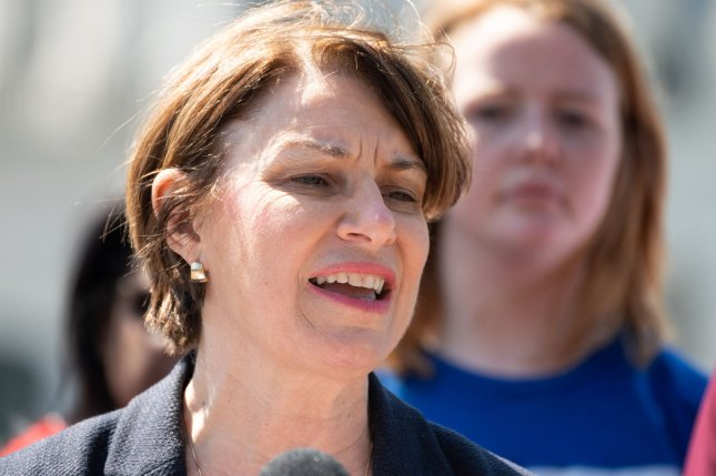 Sen. Amy Klobuchar's plan for her first 100 days as president includes actions on healthcare, the economy, climate change and gun violence. File Photo by Kevin Dietsch/UPI