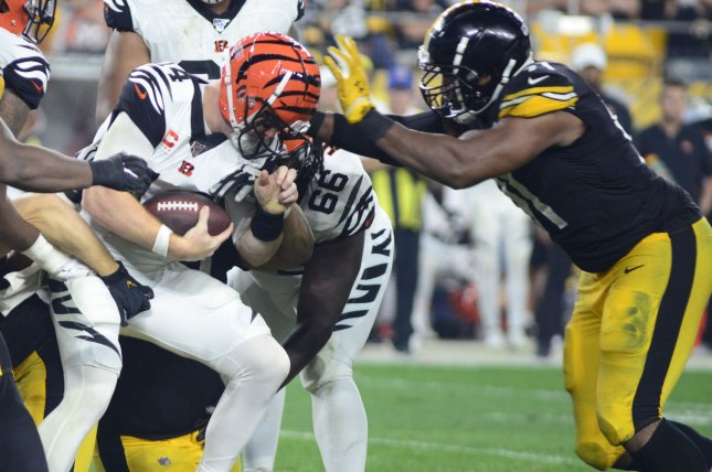 Cincinnati Bengals quarterback Andy Dalton (L) was sacked a career-high eight times during a loss to the Pittsburgh Steelers Monday in Pittsburgh. Photo by Archie Carpenter/UPI