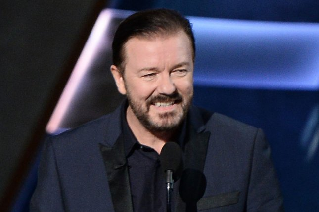 Ricky Gervais will be hosting the 2020 Golden Globe Awards on Sunday. File Photo by Ken Matsui/UPI.