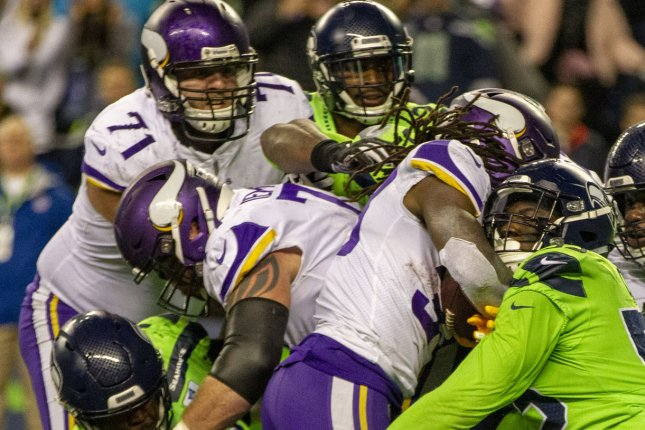 Offensive tackle Riley Reiff (71), who signed with the Cincinnati Bengals on Friday, started 15 games last season for the Minnesota Vikings. File Photo by Jim Bryant/UPI