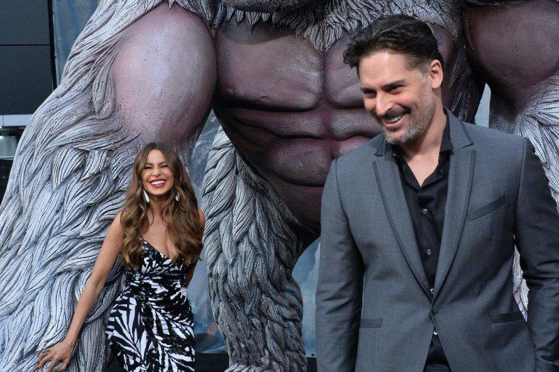 Sofia Vergara (L) and Joe Manganiello attend the Los Angeles premiere of Rampage on Wednesday. Photo by Jim Ruymen/UPI