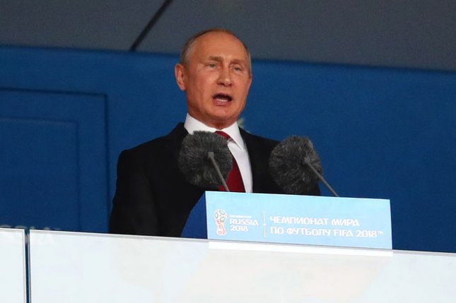 Russian President Vladimir Putin speaks to the crowd ahead of the 2018 FIFA World Cup Group A match on June 14 at the Luzhniki Stadium in Moscow. Chris Brunskill/UPI