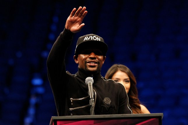 Floyd Mayweather Jr. adresses the media after his super-welterweight fight with Conor McGregor on August 26 at T-Mobile Arena in Las Vegas. File photo by James Atoa/UPI