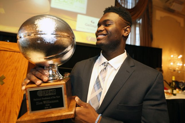 Zion Williamson of Duke University looks at his award during ceremonies at the Missouri Athletic Club in St. Louis on Monday. Photo by Bill Greenblatt/UPI