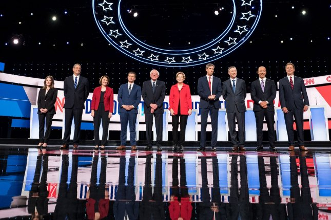 Democratic presidential candidates take the stage on the first day of the CNN Democratic Presidential Debate at the Fox Theater in Detroit on Tuesday. Photo by Kevin Dietsch/UPI