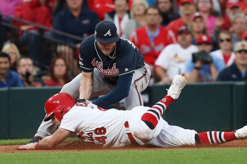 Atlanta Braves third baseman Josh Donaldson (20) had a .259 batting average with 37 home runs and 94 RBIs last season. File Photo by Bill Greenblatt/UPI