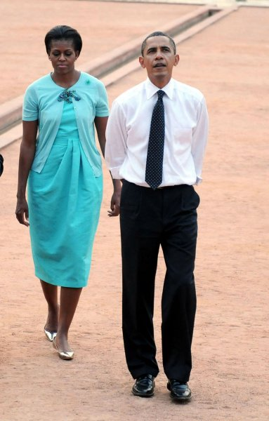U.S. President Barack Obama and First Lady Michelle Obama tour Humayun's Tomb, in Delhi, India on November 7, 2010. Obama and the First Lady are on a ten day trip through Asia. UPI/Raj Patidar