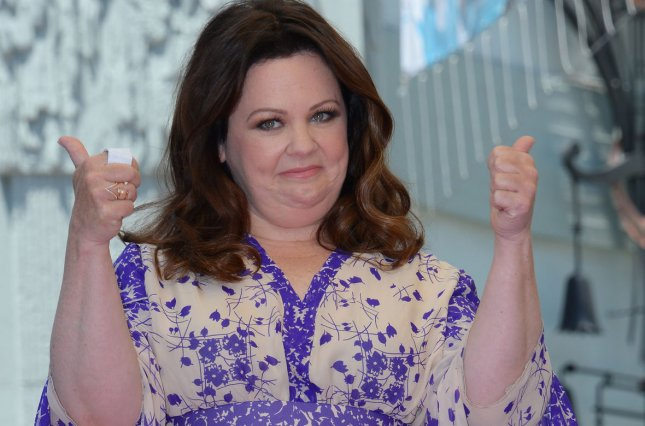 Actress Melissa McCarthy reacts to comments during an unveiling ceremony honoring her with the 2,552nd star on the Hollywood Walk of Fame in Los Angeles on May 19, 2015. Photo by Jim Ruymen/UPI