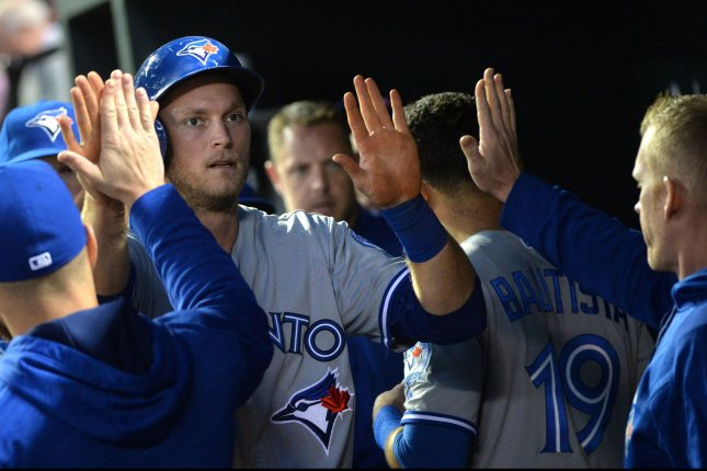 Toronto Blue Jays' Michael Saunders. Photo by Kevin Dietsch/UPI