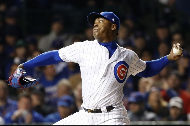 Chicago Cubs reliever Aroldis Chapman throws against the Cleveland Indians during the ninth inning in game 3 of the World Series at Wrigley Field on October 28, 2016 in Chicago. Photo by Kamil Krzaczynski/UPI