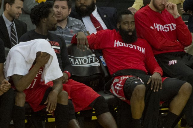James Harden converted a coast-to-coast layup with 2.4 seconds remaining to cap a wild fourth quarter and give the Houston Rockets a 125-124 win over the Denver Nuggets on Monday night at Toyota Center. File Photo by Terry Schmitt/UPI