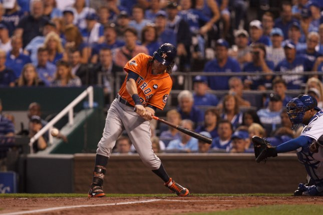 Colby Rasmus, shown here swinging the bat as a member of the Houston Astros, has decided to take a break from baseball. Photo by Jeff Moffett/UPI