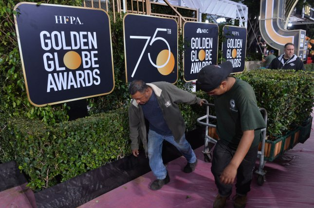 Preparations are underway for the 75th annual Golden Globe Awards at the Beverly Hilton Hotel in Beverly Hills, California on January 6, 2018. The 75th Golden Globe Awards recognizing excellence in film and television will be telecast live on NBC from the Beverly Hilton on Sunday. Photo by Jim Ruymen/UPI