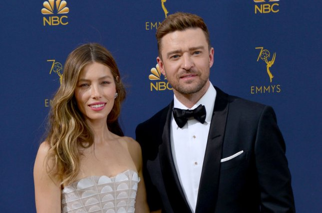 Justin Timberlake (R) and Jessica Biel. The singer paid homage to his wife on her birthday. File Photo by Christine Chew/UPI