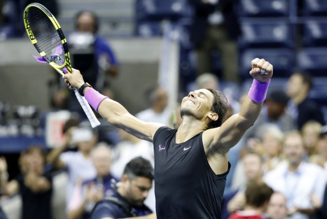 Rafael Nadal of Spain celebrates after defeating Matteo Berrettini of Italy in straight sets in the semifinal of the 2019 U.S. Open Tennis Championships on Friday in Flushing, N.Y. Photo by John Angelillo/UPI