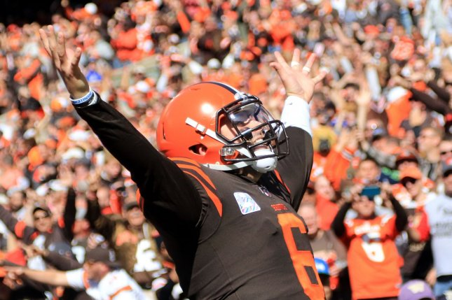 Cleveland Browns quarterback Baker Mayfield has underperformed this season, completing 56.6 percent of his throws for 1,496 yards, five scores and 11 interceptions in six games. Photo by Aaron Josefczyk/UPI