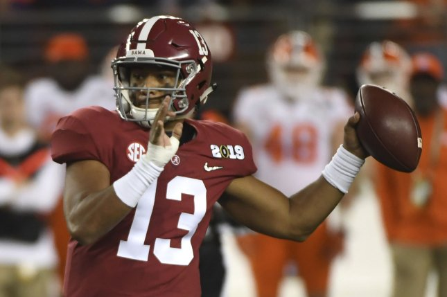 Alabama Crimson Tide quarterback Tua Tagovailoa suffered a dislocated hip and a posterior wall fracture during Saturday's game against Mississippi State. File Photo by Terry Schmitt/UPI