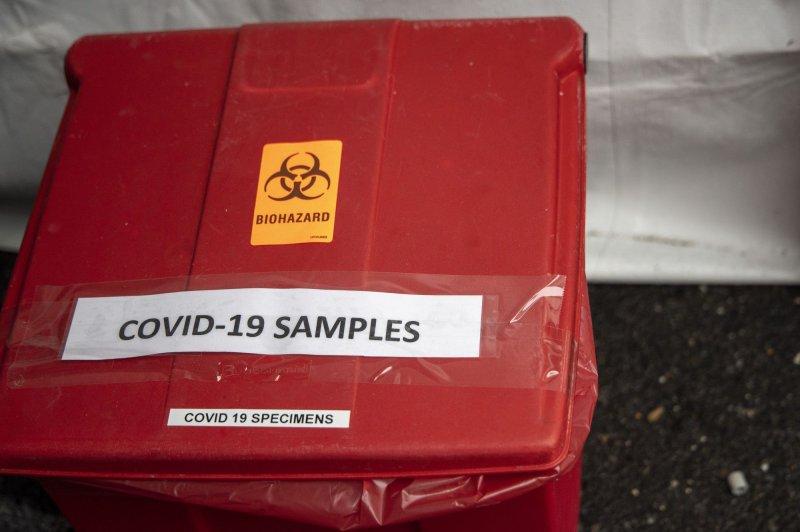 Coronavirus testing samples are seen at a testing site in Arlington, Va., on March 19. File Photo by Tasos Katopodis/UPI