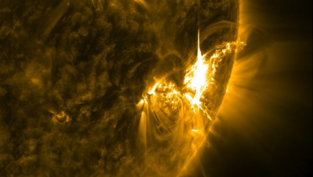 This close-up image captured by NASA's Solar Dynamics Observatory (SDO) shows the July 6, 2012 X-class flare captured in the 171 Angstrom wavelength. UPI/NASA/SDO