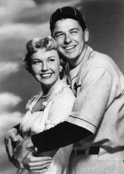 President Ronald Reagan is seen here during his years as an actor with co-star Doris Day in the 1952 movie, The Winning Team. (UPI Photo Files)
