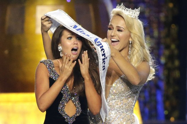 Miss America 2018 winner Cara Mund (L) confirmed Tuesday the competition will end the swimsuit portion. File Photo by John Angelillo/UPI