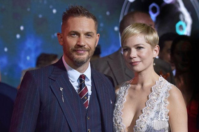 Tom Hardy (L) and Michelle Williams attend the premiere of Venom in Los Angeles on October 1. Photo by Chris Chew/UPI