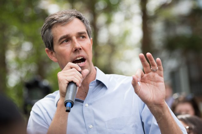 Democratic presidential candidate Beto O'Rourke speaks at a backyard rally at a home in Alexandria, Va., on April 17. File Photo by Kevin Dietsch/UPI