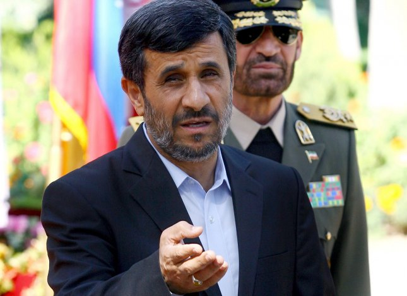 Iranian President Mahmoud Ahmadinejad delivers remarks to the media during a welcome ceremony for Venezuela's President Hugo Chavez in Tehran, Iran on October 19, 2010. UPI/Maryam Rahmanian