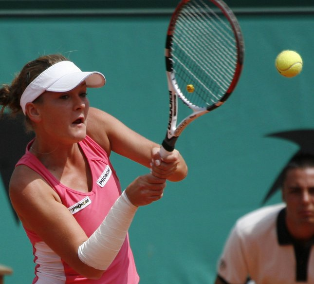 Agnieszka Radwanska, shown playing in the 2008 French Open, was a first-round winner Tuesday at a tournament in Sweden. (UPI Photo/ David Silpa)