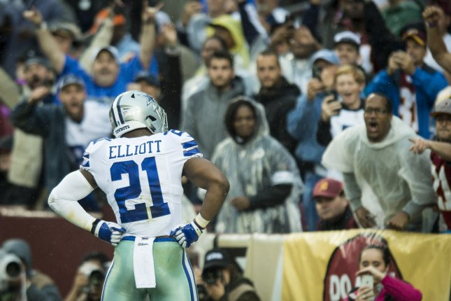 Dallas Cowboys running back Ezekiel Elliott celebrates a touchdown during the first quarter against the Washington Redskins Sunday at FedEx Field in Landover, Md. Photo by Pete Marovich/UPI