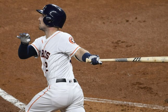 Houston Astros third baseman Alex Bregman hits a solo home run against the Washington Nationals in the first inning in Game 6 of the 2019 World Series on Tuesday at Minute Maid Park in Houston. Photo by Trask Smith/UPI