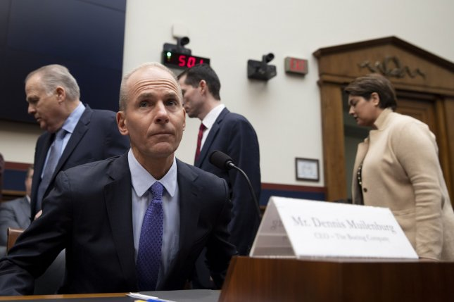 Boeing CEO Dennis Muilenburg, shown here testifying before Congress last week, said he will not accept his bonus this year. Photo by Tasos Katopodis/UPI
