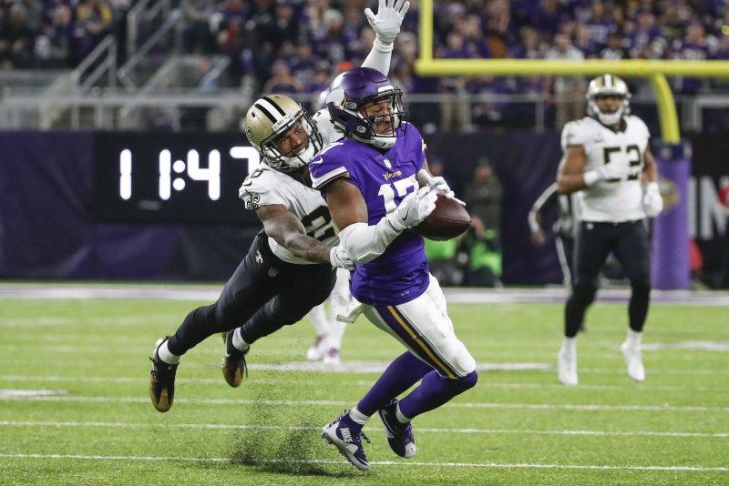 New Orleans Saints cornerback P.J. Williams (L) has started 23 games, including the postseason, over the last three seasons. File Photo by Kamil Krzaczynski/UPI