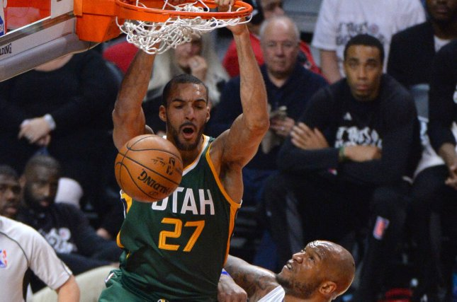 Utah Jazz center Rudy Gobert sank two free throws with 6.9 seconds remaining to give his team a two-point victory over the New Orleans Pelicans on Thursday. File Photo by Jon SooHoo/UPI