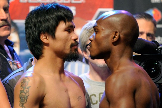 Boxer Manny Pacquiao pictured during an official weigh-in with Timothy Bradley for their 2002 bout in Las Vegas, Nevada. Photo by David Becker/UPI