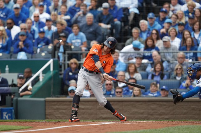 Houston Astros left fielder Colby Rasmus (28). Photo by Jeff Moffett/UPI