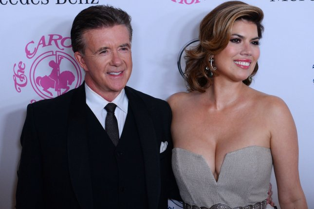 Alan Thicke (L) and wife Tanya Callau attend the Carousel of Hope Ball on October 11. A memorial service for Thicke was attended by Leonardo DiCaprio, Kirk Cameron, Bob Saget, Alex Trebek and more. File Photo by Jim Ruymen/UPI