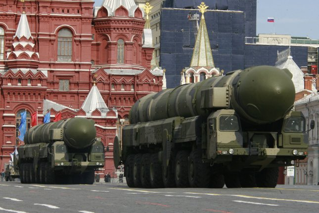 Russia has test-fired its Topol-M ICBM. Pictured, Topol-M intercontinental ballistic missile launchers drive during the annual Victory Day parade in Red Square in Moscow on May 9, 2008. File photo by Anatoli Zhdanov/UPI