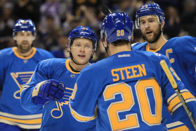 The St. Louis Blues beat the San Jose Sharks 4-1 on Thursday to sweep the season series in a rematch of their Western Conference Finals matchup. File Photo by Bill Greenblatt/UPI
