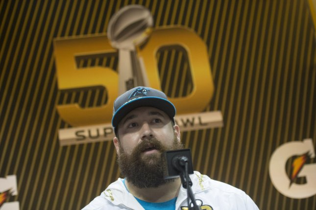 Carolina Panthers center Ryan Kalil speaks to reporters during the Super Bowl L Media Day at the SAP Center in San Jose, Calif., in February 2016. Photo by Kevin Dietsch/UPI