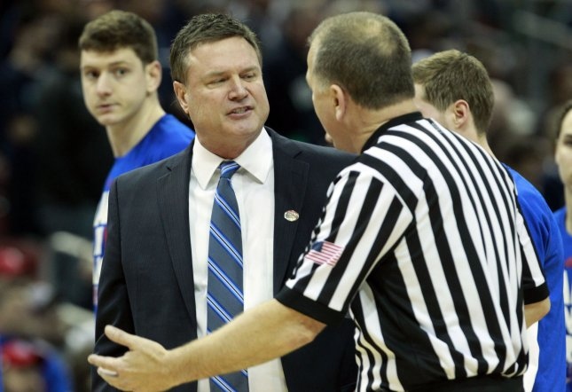 Kansas coach Bill Self reacts to a call by the officials during an NCAA tournament game against Villanova last year. Photo by John Sommers II/UPI