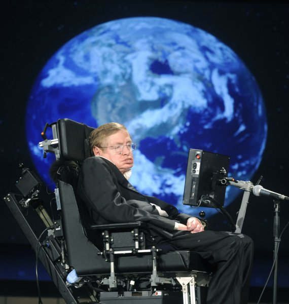 Physicist Stephen Hawking delivers a lecture in 2008 titled Why We Go into Space as a part of a series honoring NASA's 50th Anniversary, at George Washington University. File Photo by Kevin Dietsch/UPI