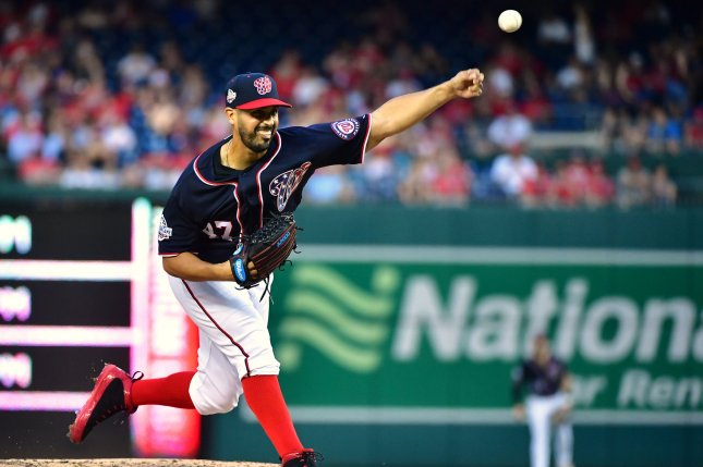 Washington Nationals starting pitcher Gio Gonzalez (47) pitches against the Philadelphia Phillies in the third inning on May 4, 2018 at Nationals Park in Washington, D.C. Photo by Kevin Dietsch/UPI