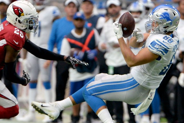 Detroit Lions tight end T. J. Hockenson (R) has scored in four of his last five games and should post great fantasy football statistics again in Week 10. File Photo by Art Foxall/UPI
