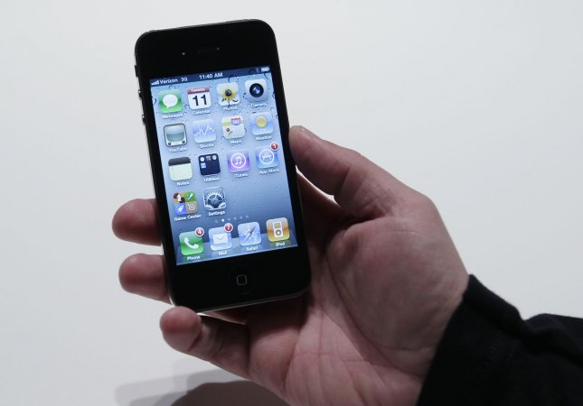 The new Verizon Wireless version of the iphone is on display for members of the media to view and touch at Verizon's iPhone 4 launch event in New York January 11, 2011. UPI/John Angelillo