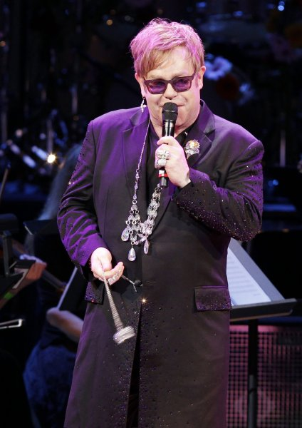 Elton John sings Diamonds are a Girls Best Friend at the Revlon Concert for the Rainforest Fund at Carnegie Hall in New York City on April 3, 2012. UPI/John Angelillo