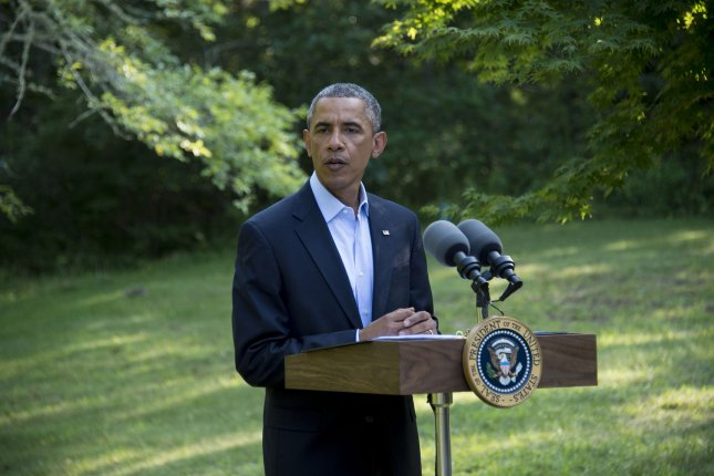 President Barack Obama delivers a statement on Iraq, during his vacation in Chilmark, Martha's Vineyard, Massachusetts on August 11, 2014. Obama congratulated Iraq on it's new leadership as ongoing political and security uncertainty threatens the country in Baghdad. UPI/Rick Friedman/Pool
