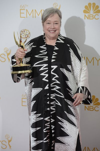 Kathy Bates holds her Emmy for Outstanding Supporting Actress in a Miniseries or Movie Award for 'American Horror Story: Coven' at the Primetime Emmy Awards at the Nokia Theatre in Los Angeles on August 25, 2014. UPI/Phil McCarten