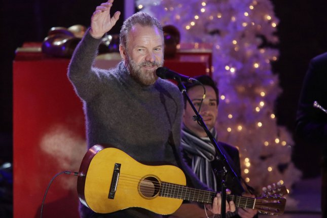 Sting performs before the 2015 Christmas Tree is lit for the first time of the season in Rockefeller Center on December 2, 2015. Sting announced on Tuesday that he will be touring again alongside fellow musician Peter Gabriel starting June 21. File Photo by John Angelillo/UPI